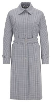 HUGO BOSS Trench coat in stretch fabric with pepita check