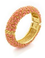 Kenneth Jay Lane Coral Cabochon Bangle Bracelet