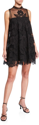 RED Valentino Tie Neck Sleeveless Lace Applique Mini Dress w/ Sheer Yoke