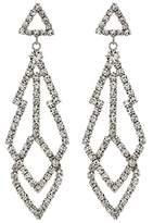 Kenneth Jay Lane 3 Silver with Diamond Top with Fancy Shape Crystal Drop Pierced Earrings (Silver/Crystal) Earring