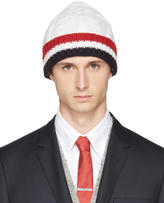 Thom Browne White and Tricolor Merino Aran Cable Beanie
