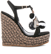 Sophia Webster Suede Lucita Pom Pom Wedges in Black.