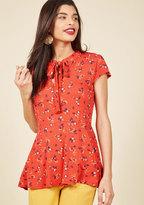 Feeling Feminine Knit Top in Red Floral in XS