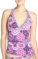 Tommy Bahama Women's 'Tiles Of Tropics' Reversible Halter Tankini Top