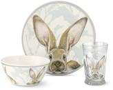 Damask Bunny Kids Melamine Dinnerware Set