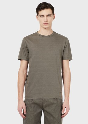 Emporio Armani T-Shirt With All-Over, Jacquard Micro-Pattern