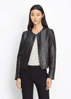 Vince Zip Front Leather Jacket