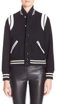 Saint Laurent Women's 'Teddy' White Leather Trim Bomber Jacket