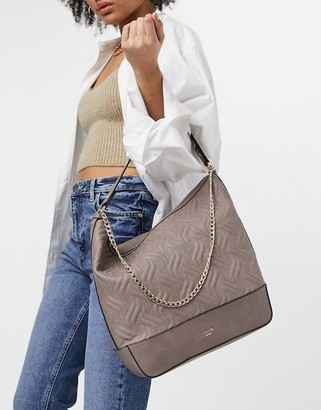 Dune devaris quilted shoulder bag with chain in taupe
