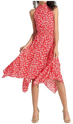 Sam Edelman Jacquard Flower Print (Coral/Ivory) Women's Dress