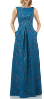 Kay Unger New York Mckenna Boat-Neck Sleeveless Embroidered Lace Gown