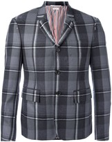 Thom Browne distressed single-breasted check blazer
