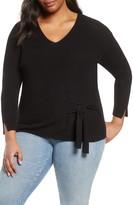 Nic+Zoe Flaunt Side Tie Ribbed Cotton Blend Sweater