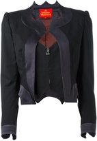 Vivienne Westwood layered zip cropped jacket - women - Spandex/Elastane/Virgin Wool/Viscose/Polyester - 40