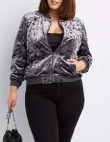 Charlotte Russe Plus Size Crushed Velvet Bomber Jacket