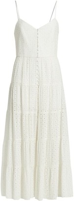 Alice + Olivia Button-Front Tiered Dress