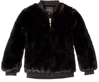 Rock Your Baby Faux Fur Bomber Jacket (Toddler/Little Kids/Big Kids) (Black) Girl's Clothing