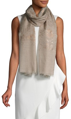 Saachi Floral Fringe Wool Scarf