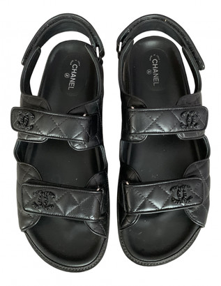 Chanel Dad Sandals Black Leather Sandals