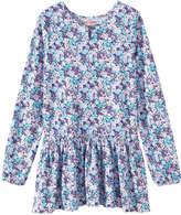 Joe Fresh Kid Girls' Print Crew Neck Dress, Peacock Blue (Size XL)