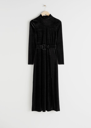 And other stories Velvet Side Slit Midi Dress