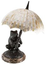 Maitland-Smith Brass Frog Table Lamp with Mother-of-Pearl Shade
