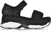 Marni Black Fabric Wedge Sandal w/Strass