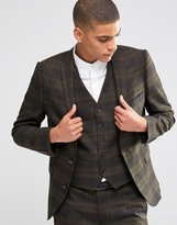 Selected Suit Jacket with Check in Skinny Fit with Stretch