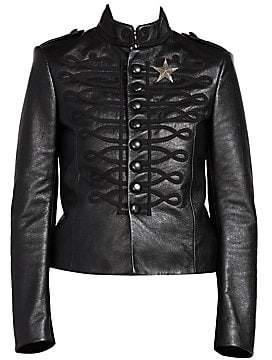 Saint Laurent Women's Embroidered Leather Officer Jacket