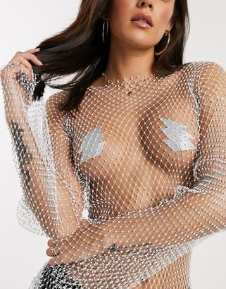 Nipztix By Neva Nude silver bolt nipple covers