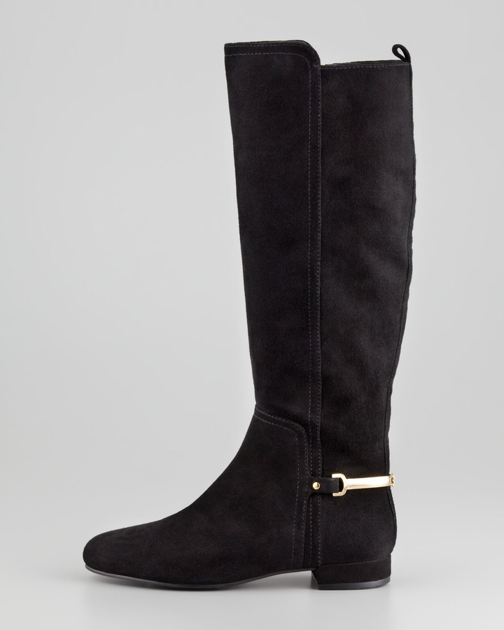Tory Burch Jess Suede Metal-Band Riding Boot, Black