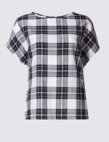 M&S Collection Modal Blend Checked Tie Back Shell Top