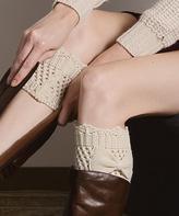 Ivory Bow Crochet Boot Cuffs