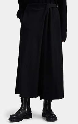 Yohji Yamamoto Women's Wool Wrap-Side Crop Pants - Black