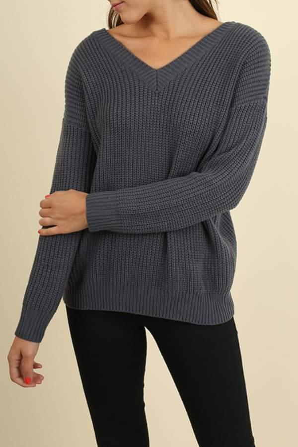 Umgee USA Drawstring Lace Up Sweater
