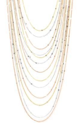 Savvy Cie 18K Gold Tri-Color Multi-Strand Layered Necklace