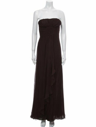 Valentino Strapless Long Dress Brown
