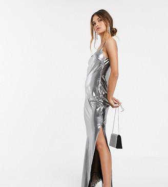 Asos Design DESIGN metallic cami maxi dress-Silver
