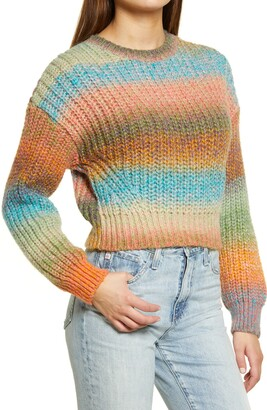 BDG Stripe Balloon Sleeve Sweater