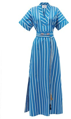 Evi Grintela Mamounia V-neck Striped Dress - Blue Stripe