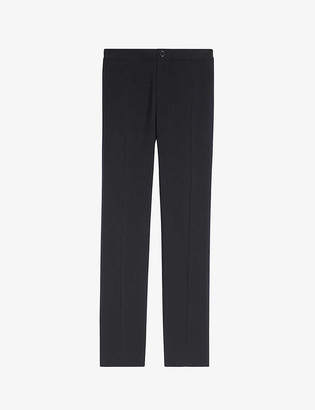 Sandro High-rise stretch-jersey trousers