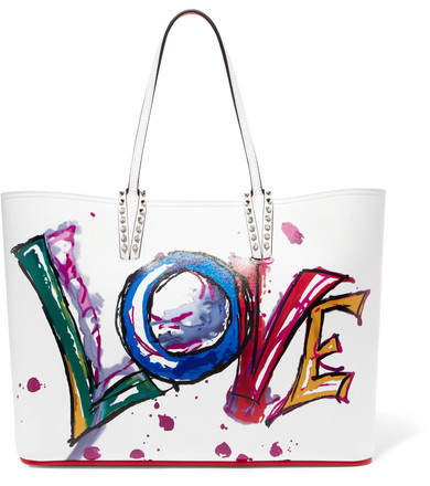 Christian Louboutin Cabata Spiked Printed Leather Tote - White