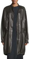 Helmut Lang Leather Zip-Front Parka, Dark Canopy