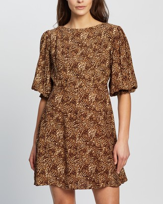 Faithfull The Brand Women's Brown Mini Dresses - Fontane Mini Dress - Size XS at The Iconic