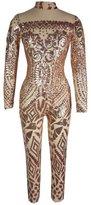 Aecibzo Women's Sexy Sequins Jumpsuit Bodycon Slim Leg Pants Jumpsuits Rompers (L, )