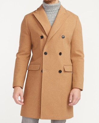 Express Khaki Double Breasted Water-Resistant Wool-Blend Trench Coat