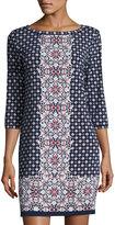 Max Studio Geometric-Print Jersey Shift Dress, Navy/China Red