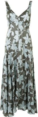 Lee Mathews Floral-Print Tiered Twill Dress