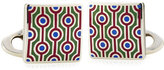 Etro Silver Cufflinks with Enamel Patterning