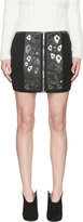 Anthony Vaccarello Black Leather and Metal Appliqué Leopard Skirt